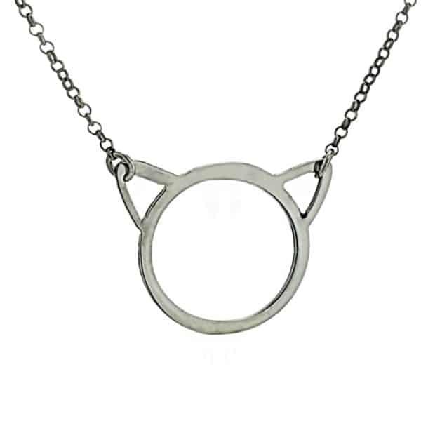 Gargantilla silueta de gato en plata (2)
