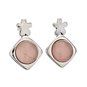 Pendientes cuarzo rosa en plata