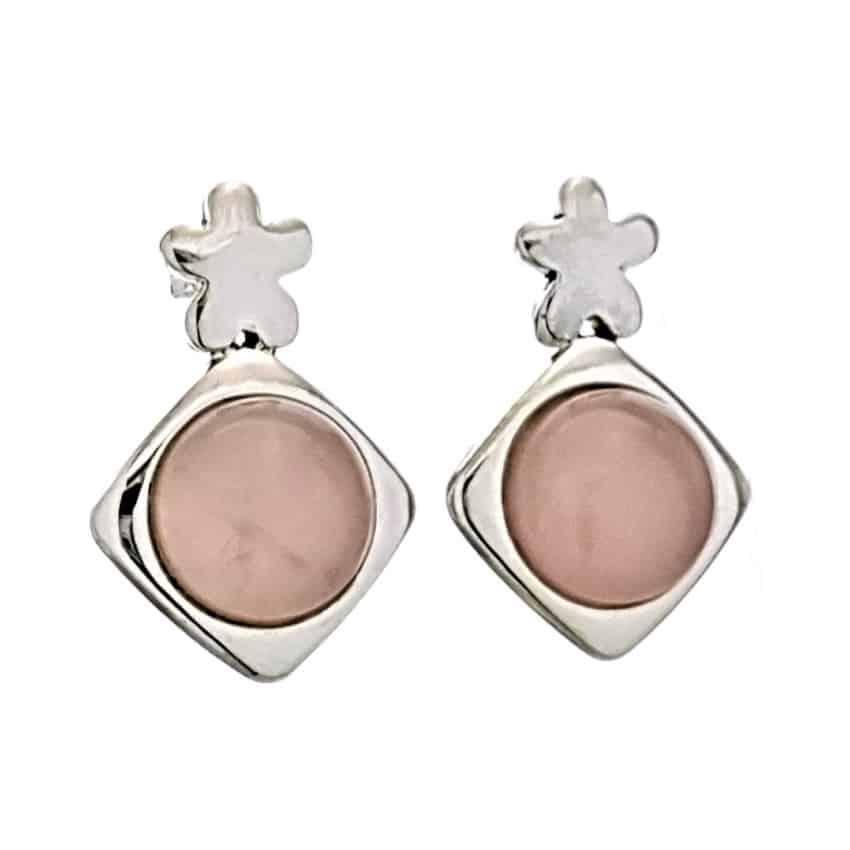 Pendientes cuarzo rosa y plata 925 (1)