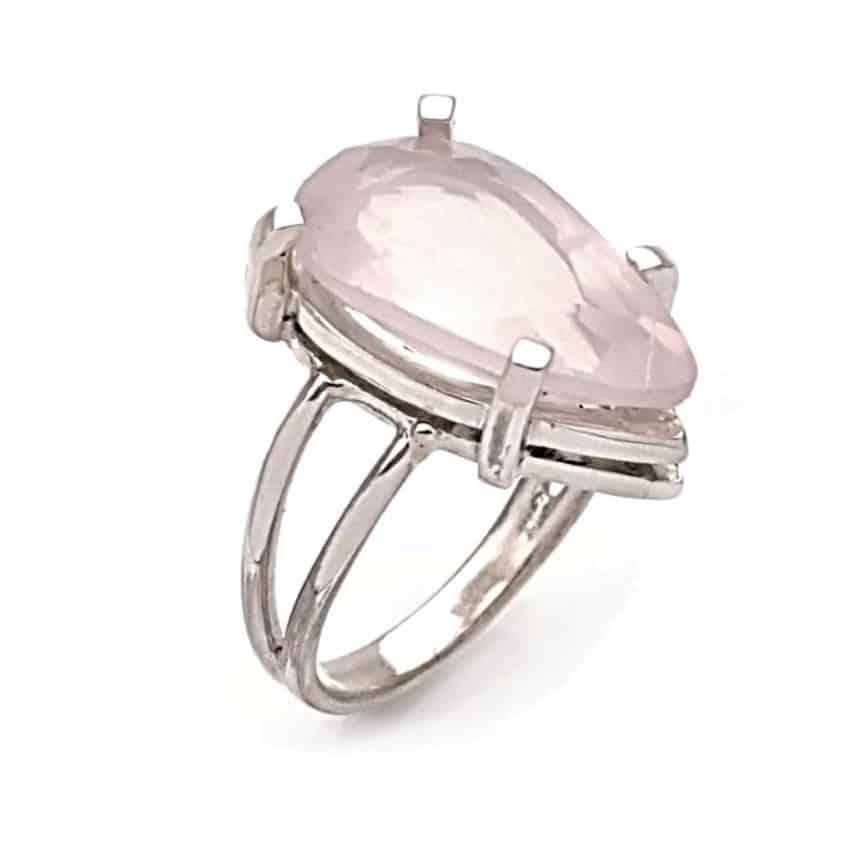 Sortija de plata 925 con piedra lágrima de cuarzo rosa (1)