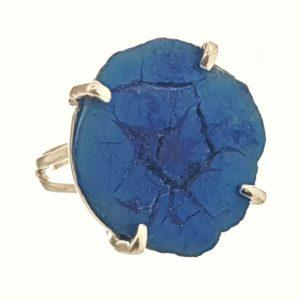 Exclusivo anillo talla 15 de piedra de azurita