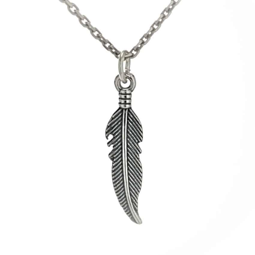 Colgante mini pluma de plata (2)