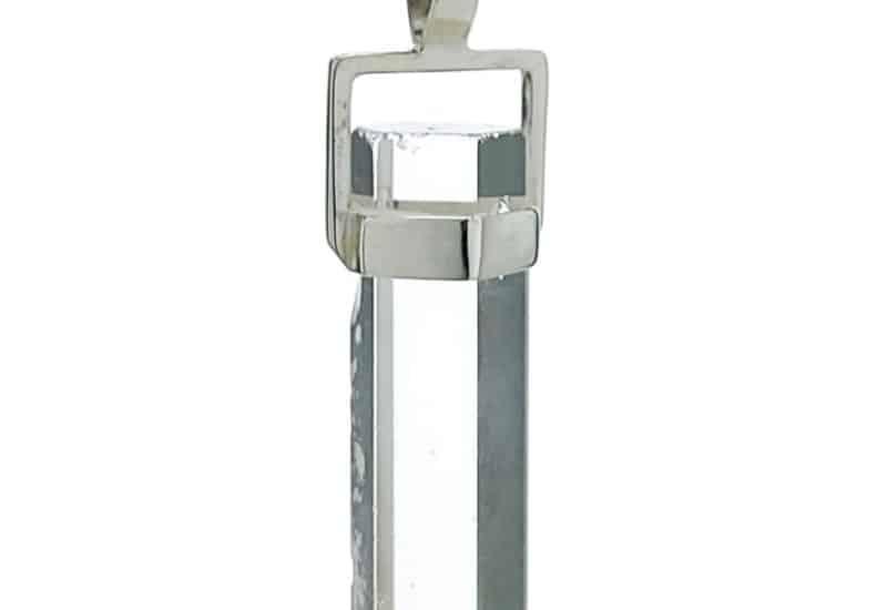 Colgante péndulo punta de cuarzo transparente en plata