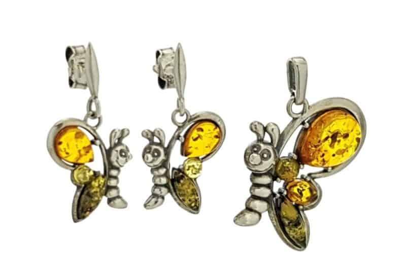 Conjunto colgante y pendientes mariposa de ámbar