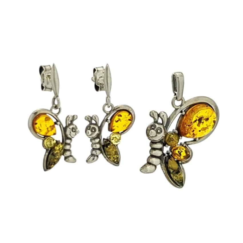Conjunto mariposas de ámbar en plata 925 (1)