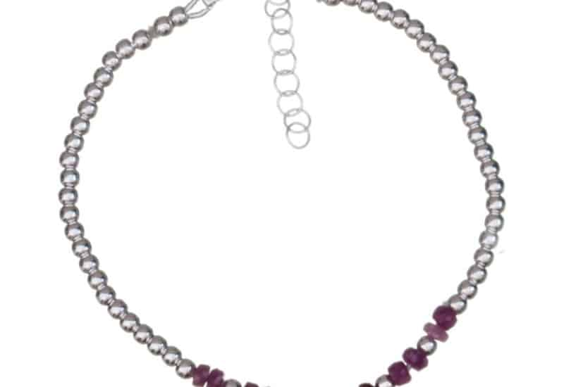 Pulsera de piedras auténticas de rubí y plata 925