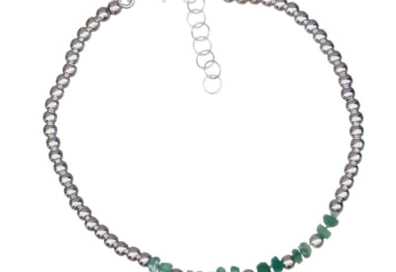 Pulsera de piedras auténticas de esmeralda y plata 925