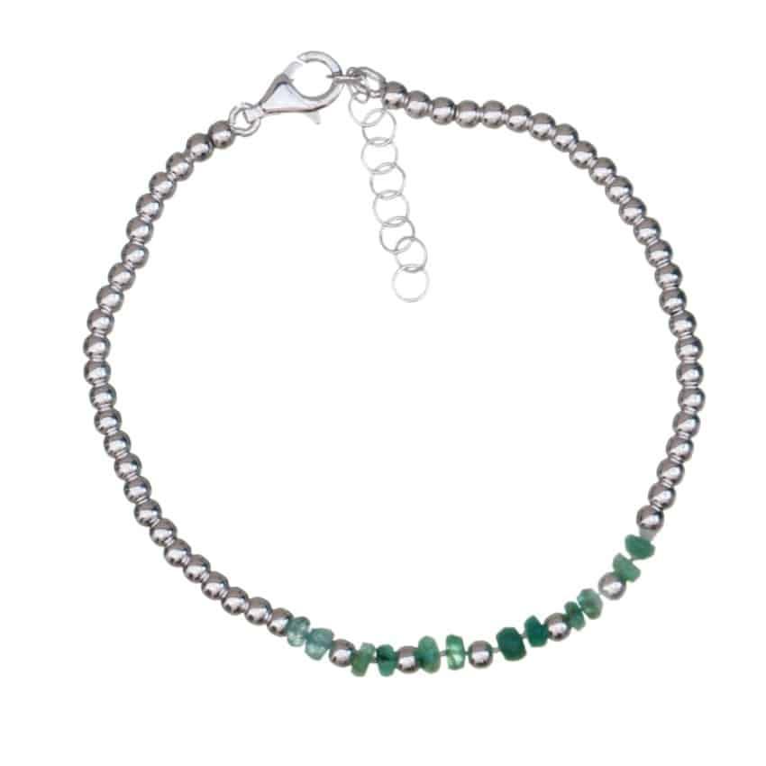 Pulsera de esmeralda y bolas de plata 925 (1)