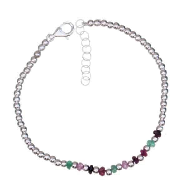 Pulsera de rubí, esmeralda y zafiro en plata 925 (3)
