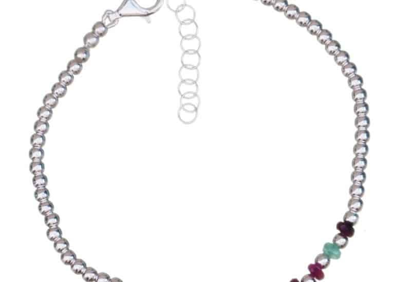 Pulsera de rubí, esmeralda, zafiro y bolas de plata 3 mm.