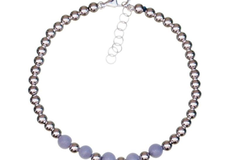 Pulsera bolas de plata y calcedonia azul