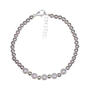 Pulsera bolas de plata y perlas de río.