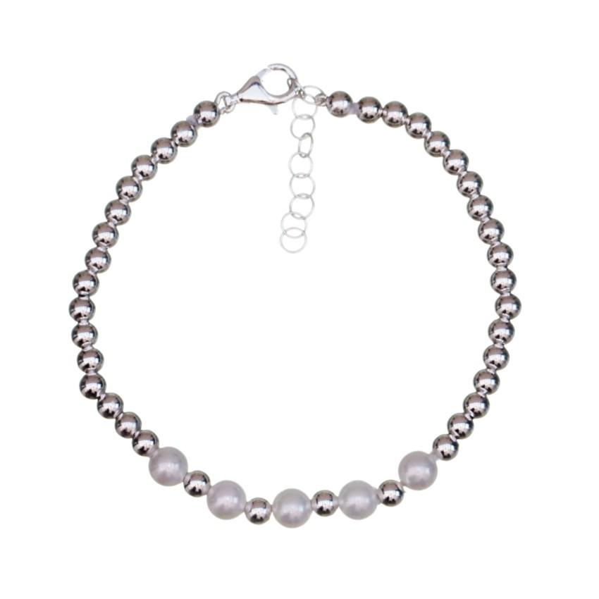 Pulsera de bolas de perlas de río y de plata