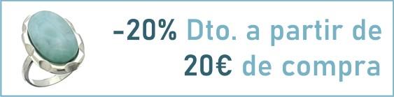 Descuéntate el 20% con el cupón: AHORRA20 hasta el 31 de Julio en todos los artículos de la web menos en la colección pulseras de las profesiones. Mínimo de compra 20€.