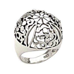 Anillo cúpula de flores en plata 925