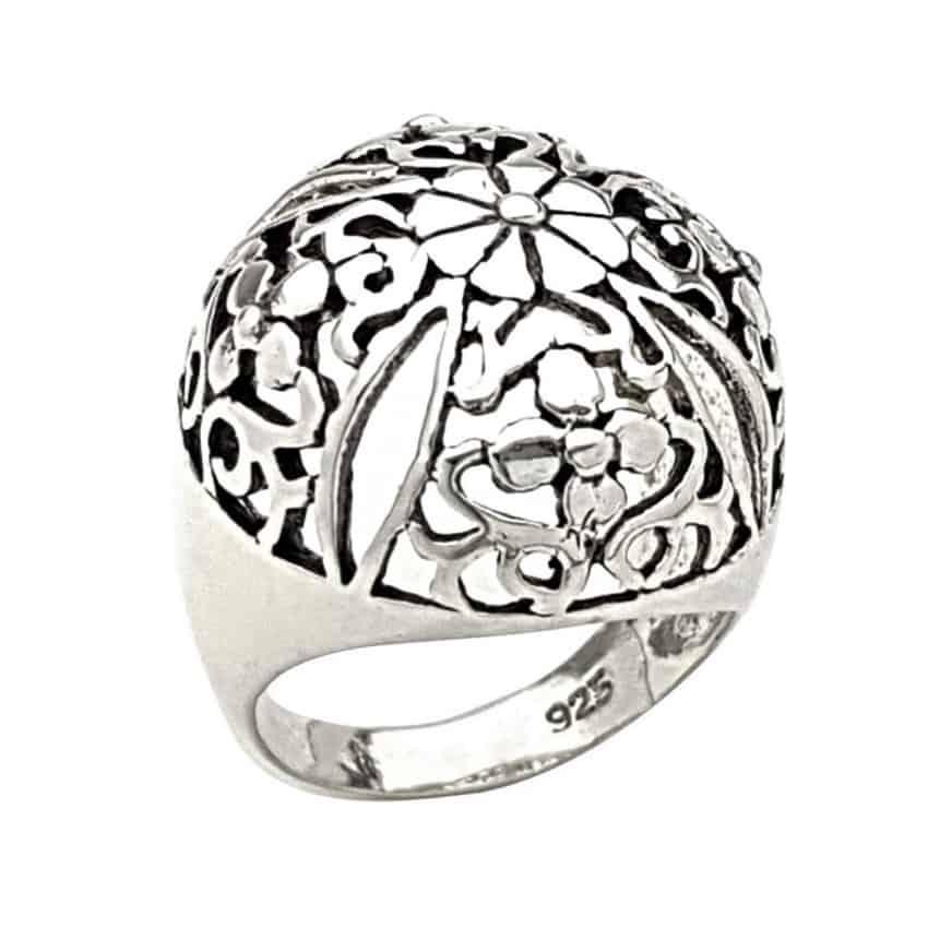 Anillo cúpula de flores de plata 925 (1)