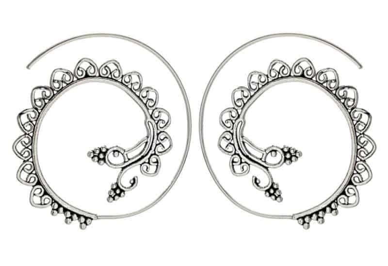 Aros espirales vintage en plata 42 mm.