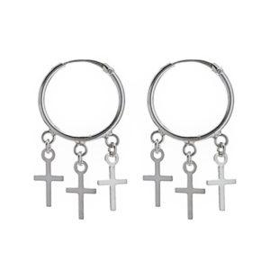 Aros básicos con tres cruces en plata 925