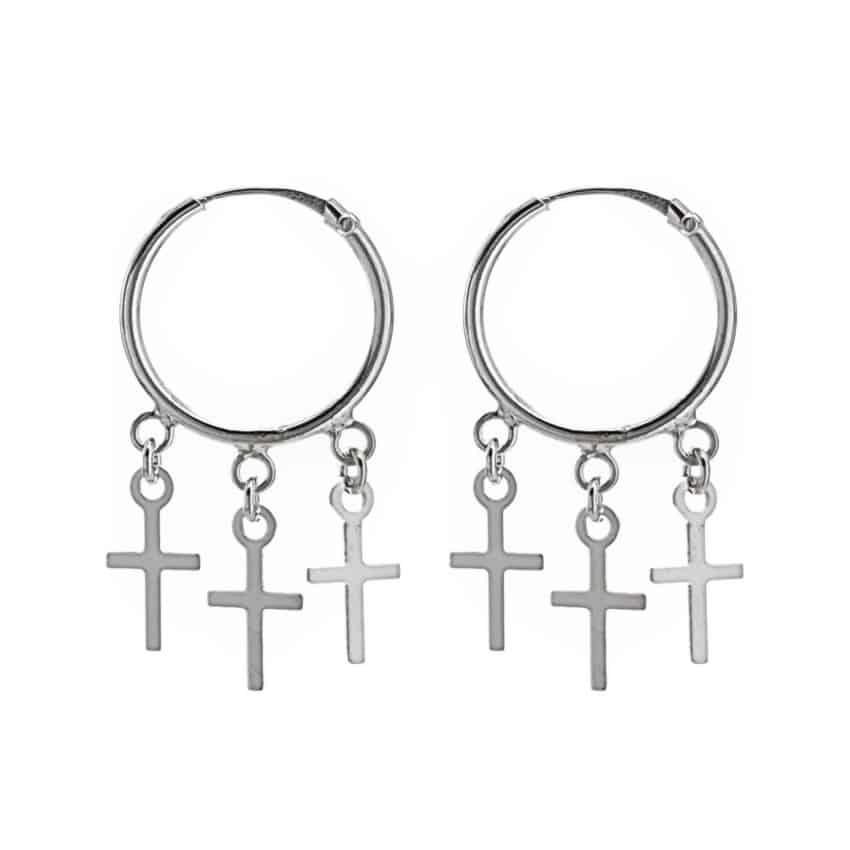 Aros plata con tres cruces 9