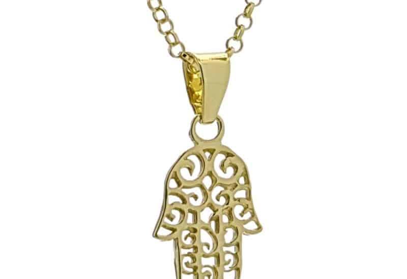 Colgante Mano de Fátima de plata dorada