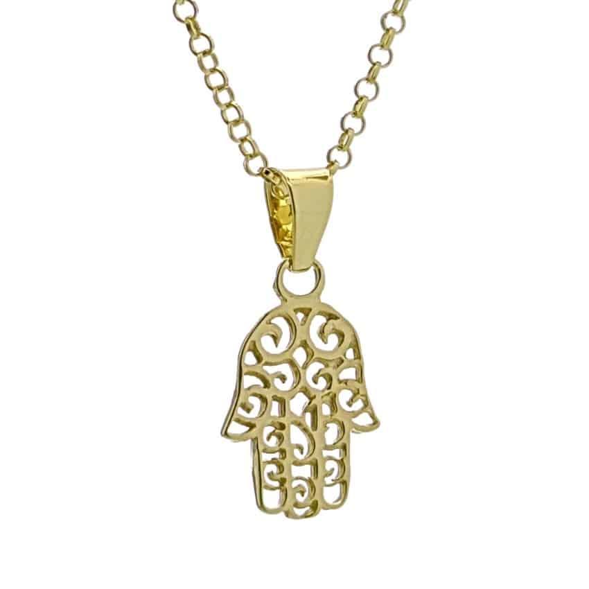 Colgante Mano de Fátima de plata chapada en oro (3)