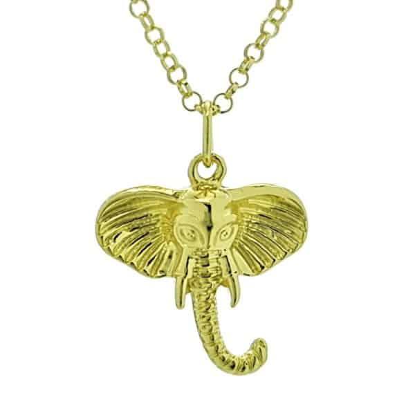 Colgante símbolo cabeza de elefante chapado en oro