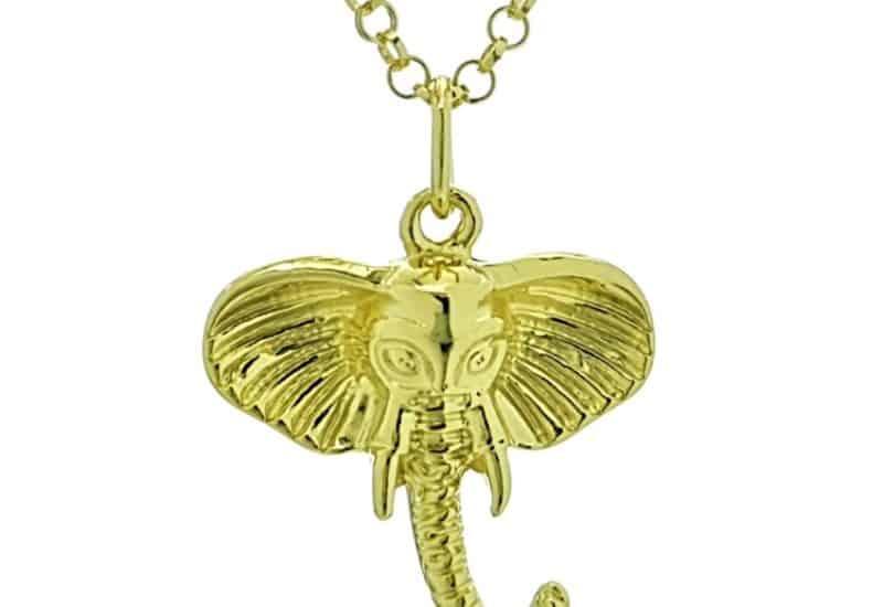 Colgante y gargantilla símbolo cabeza de elefante chapado en oro