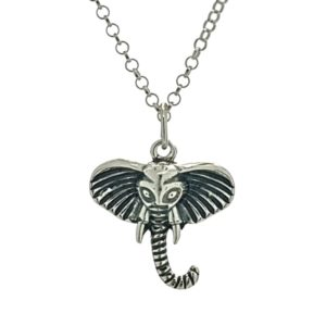 Colgante y gargantilla símbolo cabeza de elefante en plata