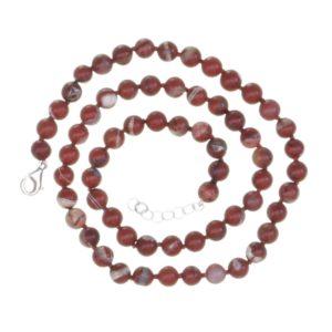 Collar bolas de 7 mm. de jaspe rojo de 48 cms.