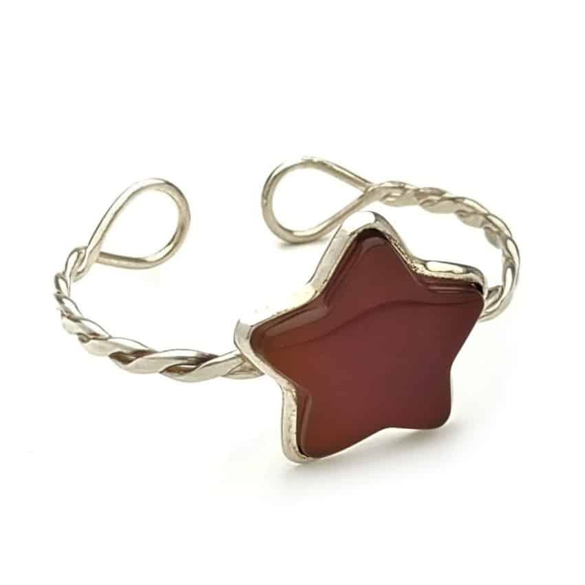 pulsera semirígida estrella de cornalina de plata 925 (1)