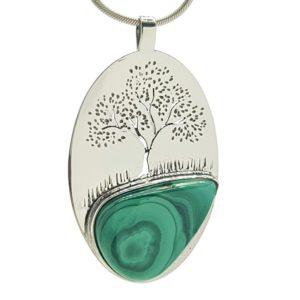 Colgante árbol de la vida en plata con Malaquita