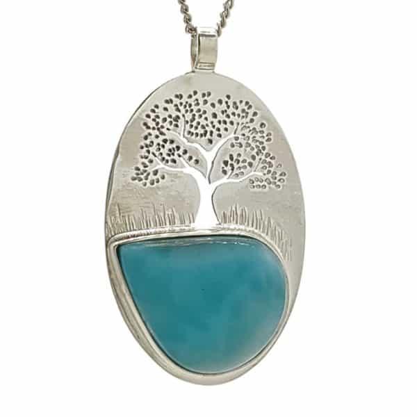 Colgante árbol de la vida con piedra larimar en plata 925 (4)