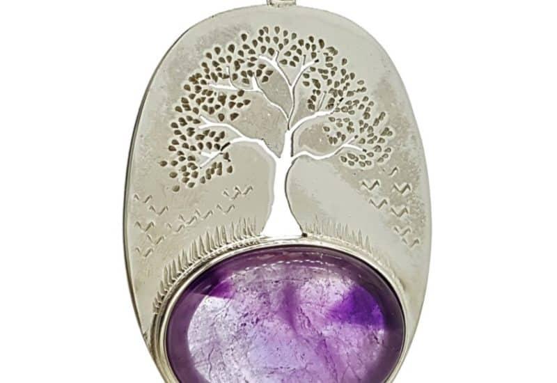 Colgante Cuarzo Amatista fabricado en plata – Árbol de la vida