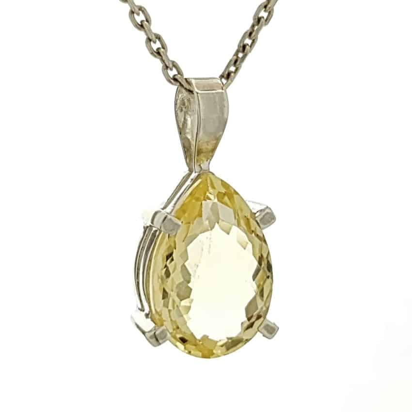 Colgante lágrima de piedra citrino facetado en plata (1)