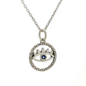 Colgante y gargantilla ojo azul, símbolo de protección en plata.