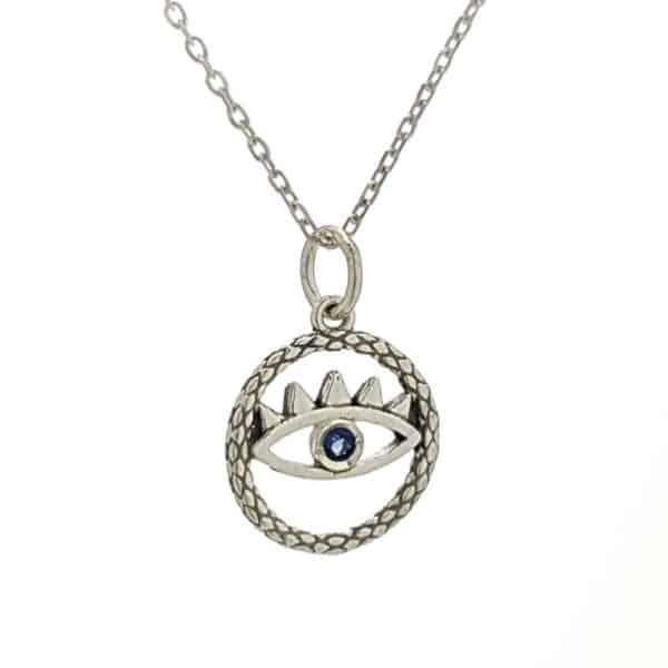Colgante y gargantilla ojo, símbolo de protección en plata.