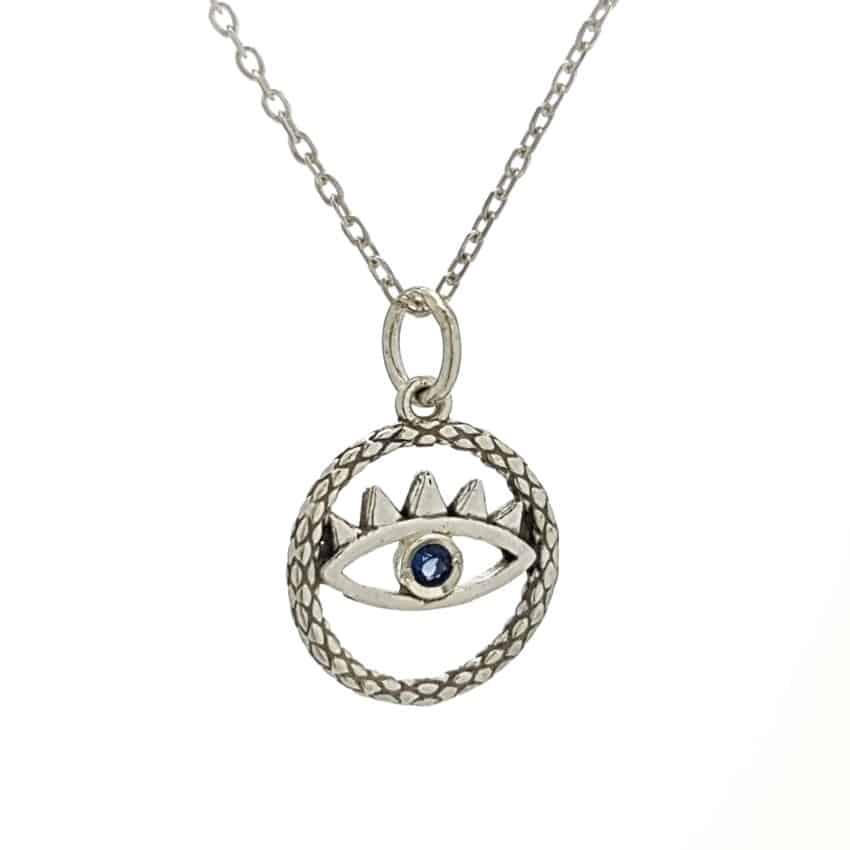 Colgante ojo en plata con circonita azul (2)