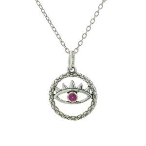 Colgante y gargantilla ojo rosa, símbolo de protección en plata.