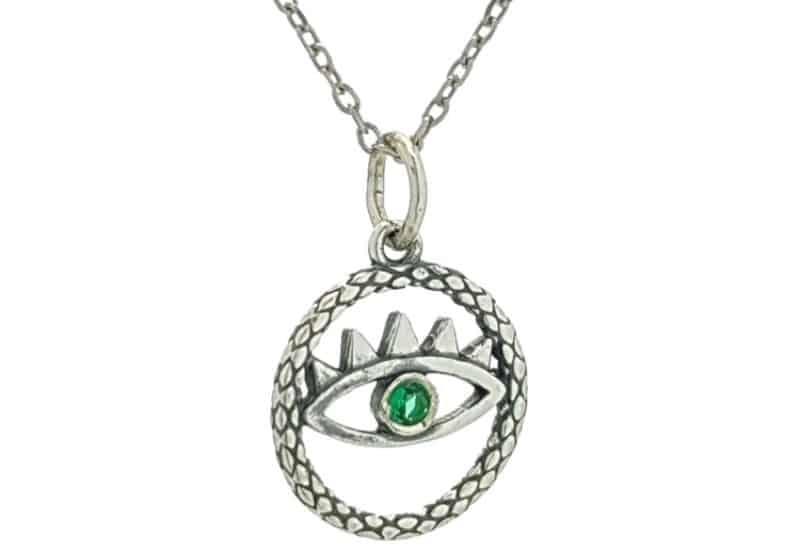 Colgante y gargantilla ojo verde, símbolo de protección en plata.