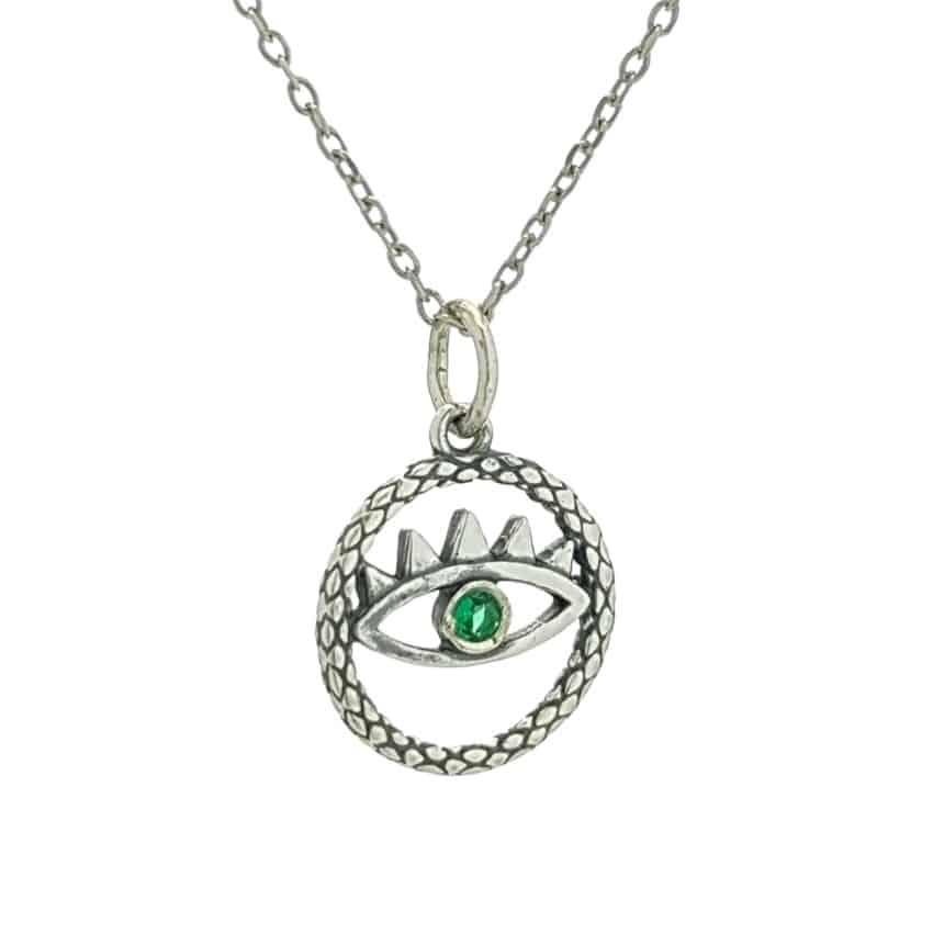 Colgante ojo en plata con circonita verde (1)