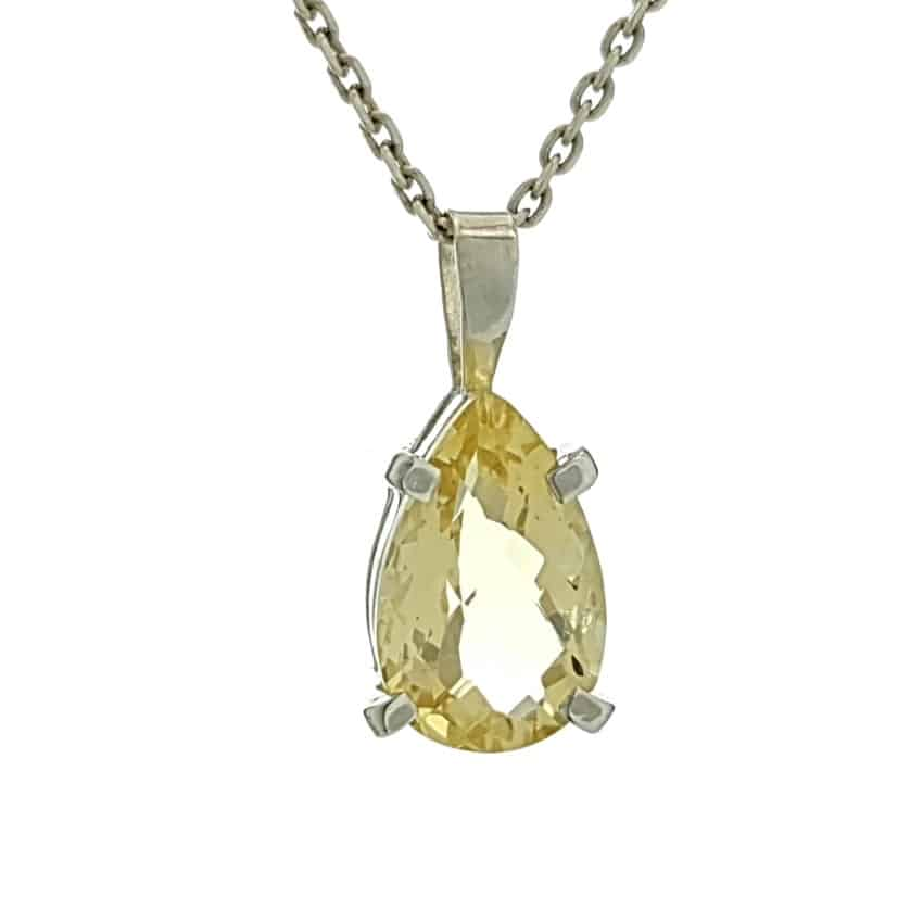 Mini colgante lágrima de cuarzo citrino en plata (7)