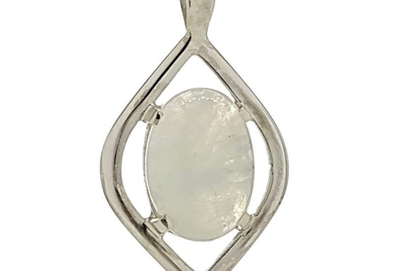 Colgante piedra luna oval en plata