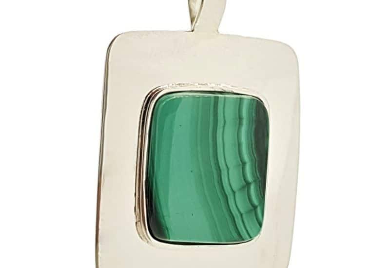Colgante malaquita en plata 925 – con efecto espejo