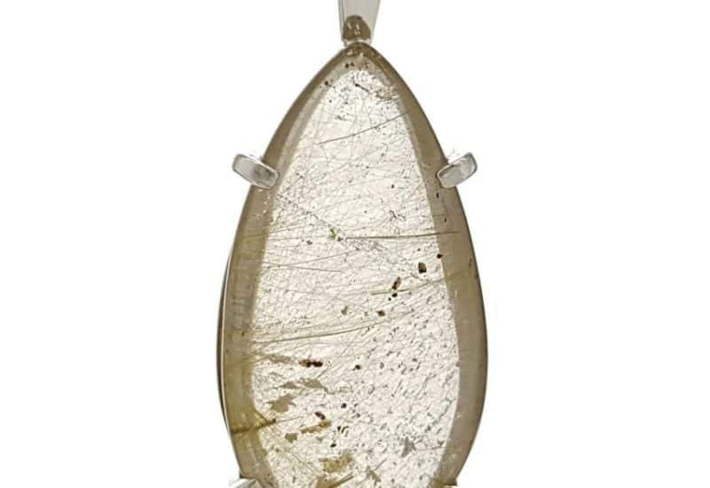 Colgante lágrima de cuarzo rutilado en plata 925