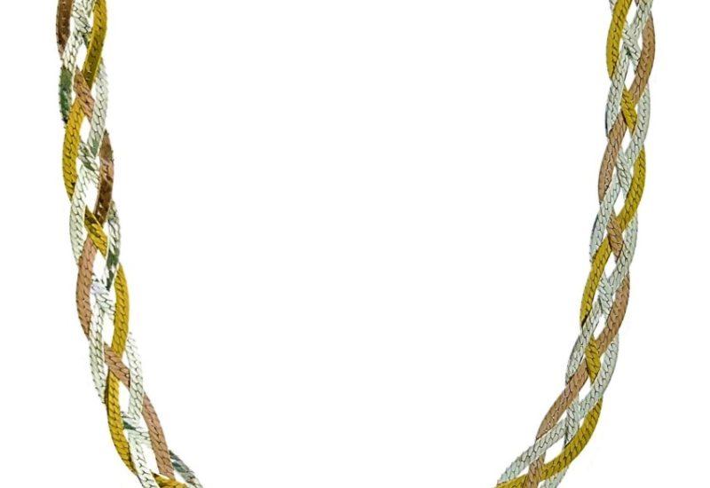 Collar de 55 cms. trenzado de plata 925 con baño de oro amarillo, rosa y rodio