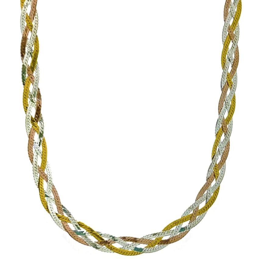Collar trenzado de plata 925 con baño de oro amarillo, rosa y rodio (6)