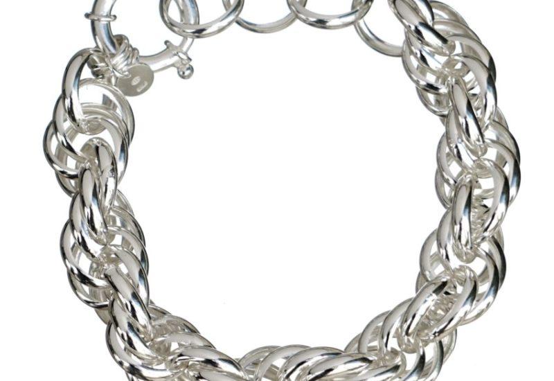 Pulsera cordón de aros de plata de 13 mm.