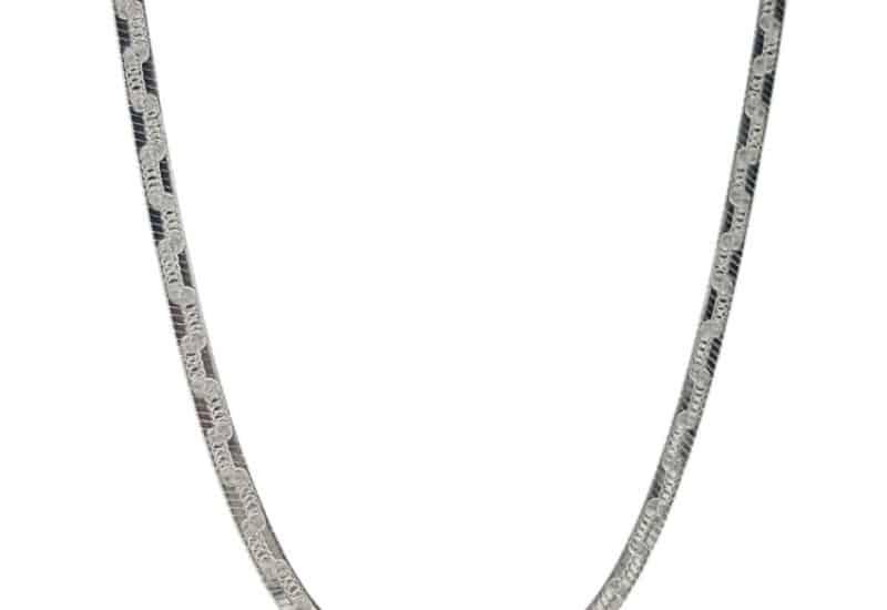 Gargantilla plana reversible, lisa y con greca de 45 cms. x 3 mm. de ancho