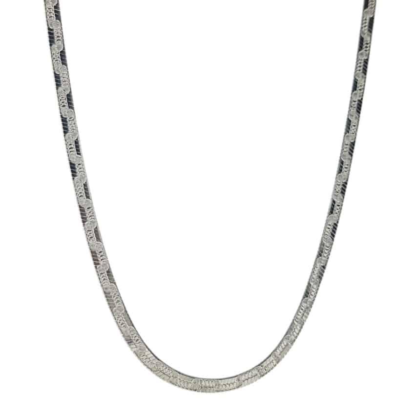 Gargantilla plana lisa de 45 cms x 3 mm. en plata 925 (2)