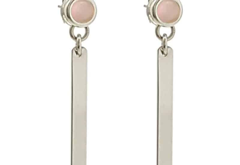 Pendientes largos de dos cuerpos de cuarzo rosa en plata